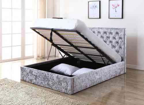 Silver Velvet Bed in Double or Kingsize