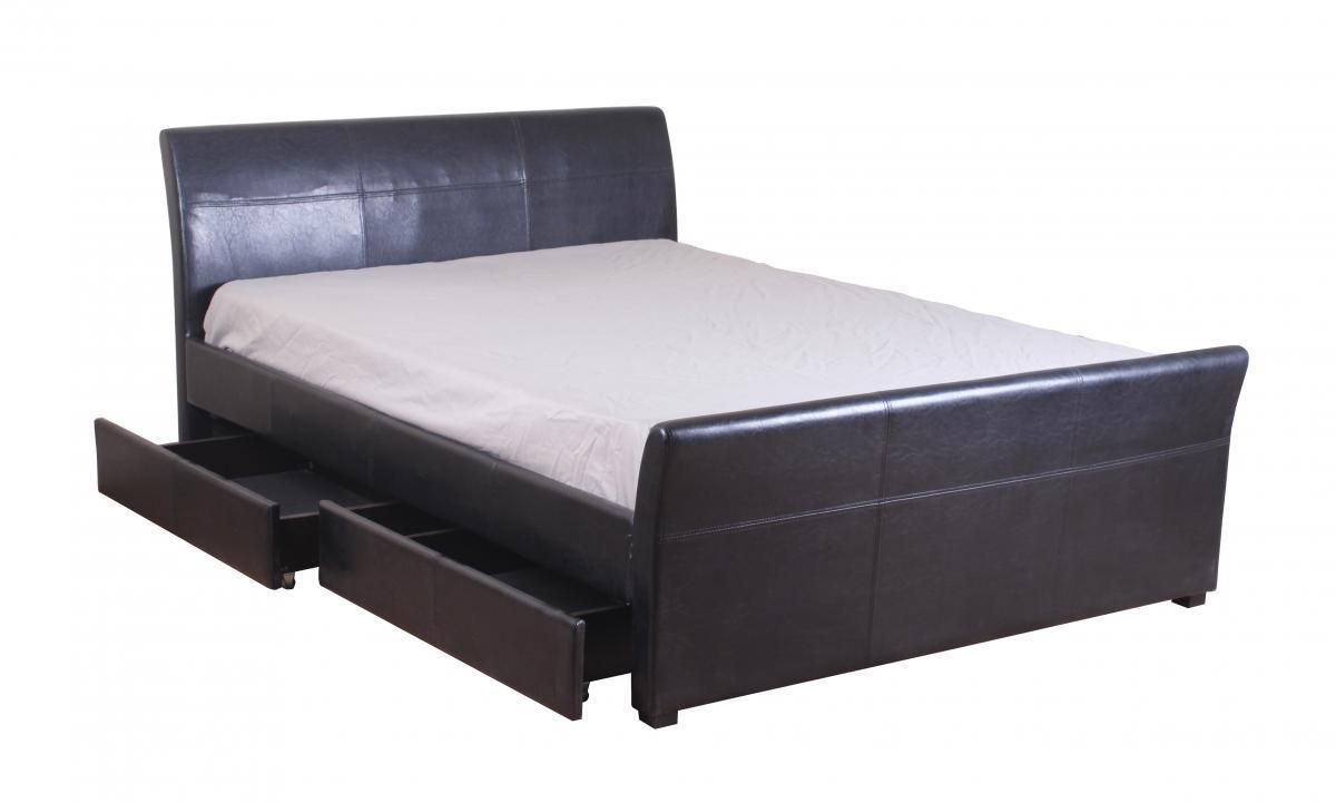 Brown faux leather bed with 4 drawer in double kingsize - Black leather bed with drawers ...