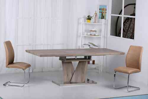 Wooden Laminated Extending Dining Table and 6 chairs