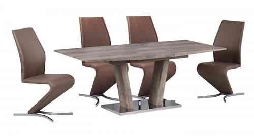 Wooden Extending Dining Table and 6 Brown Chairs