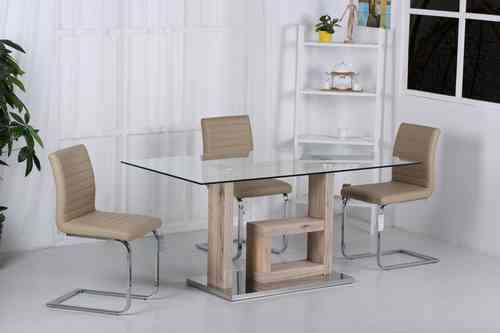 Wooden dining table with glass top and 6 Chairs