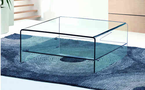 Square Curved Clear Glass Coffee Table with Shelf