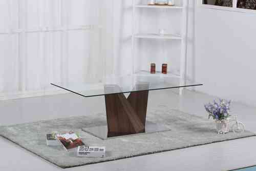 Clear Glass Coffee Table with Wooden Base