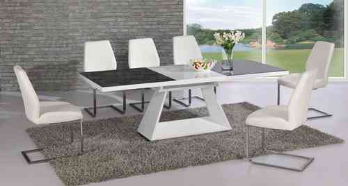 White high gloss extending black glass dining Table and 4 chairs set