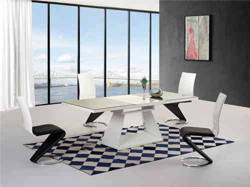 Black / white high gloss glass extending dining table and 4 chairs set