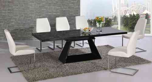 Black glass extending high gloss dining table and 4 white chairs set