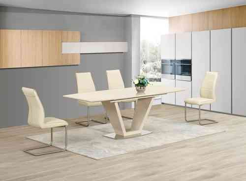 Extending Cream Glass High Gloss Dining Table and 4 Cream Chairs set