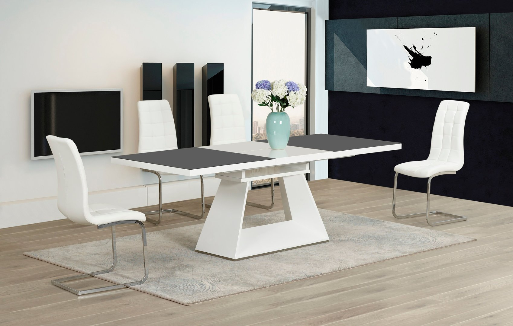 High gloss glass in grey white dining table and 4 chairs for White dining table and 4 chairs