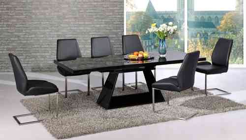 Extendable black glass high gloss base dining table and 4 chairs set