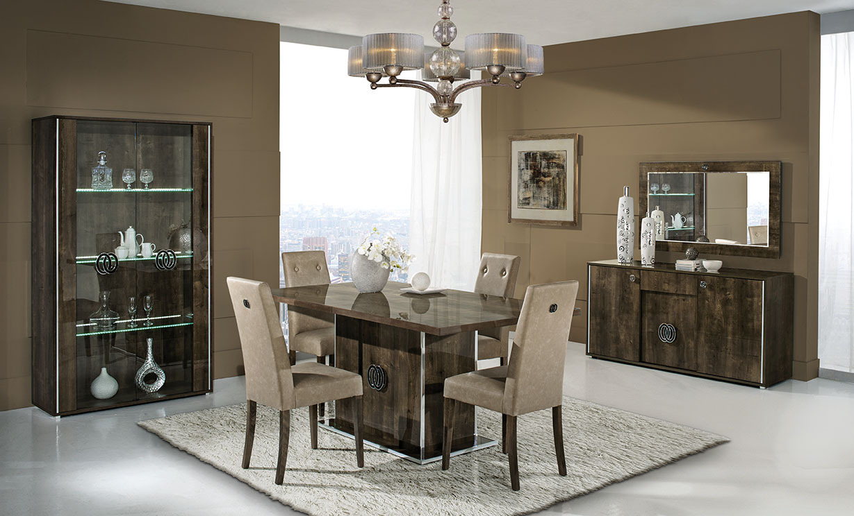 Italian Walnut High Gloss Dining Room Furniture Set