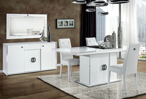 Italian white high gloss dining room furniture set