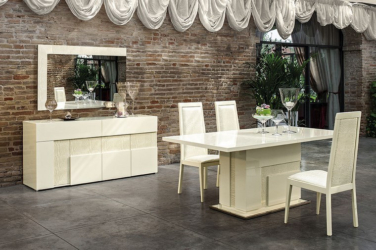Italian Beige High Gloss Dining Room Furniture Set