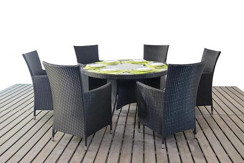 Prestige black rattan table and 6 chairs