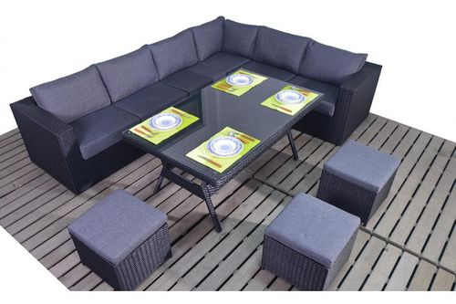 Prestige Rattan Right Corner sofa with dining table