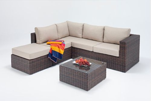 Windsor small brown rattan corner sofa