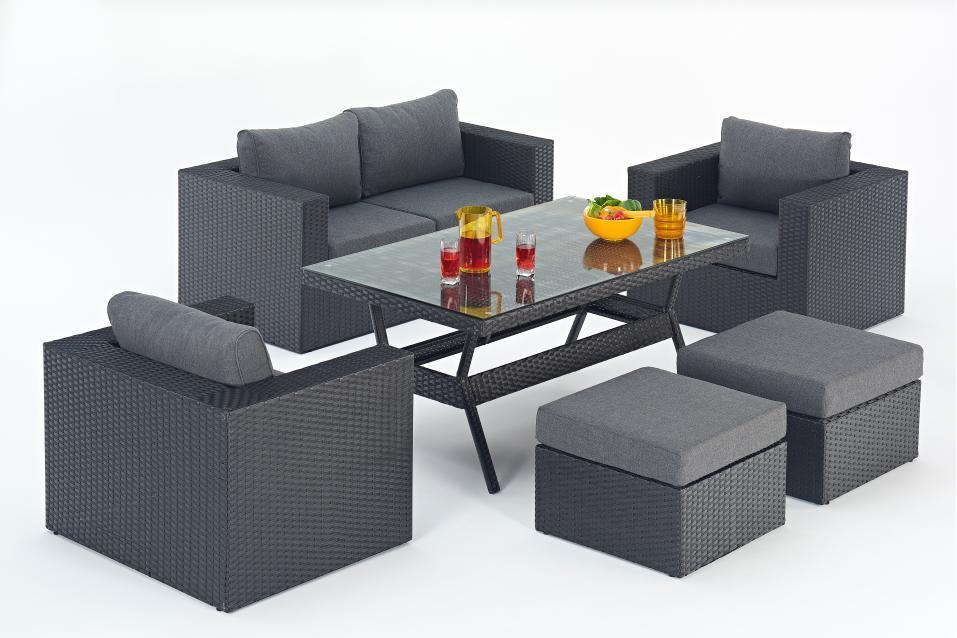 Prestige Black Rattan Sofa Set with Dining Table - Homegenies on Black Garden Sofa Set id=45743