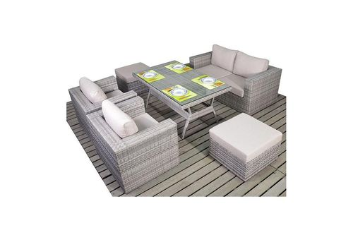 Rustic Rattan Grey Sofa set with dining table