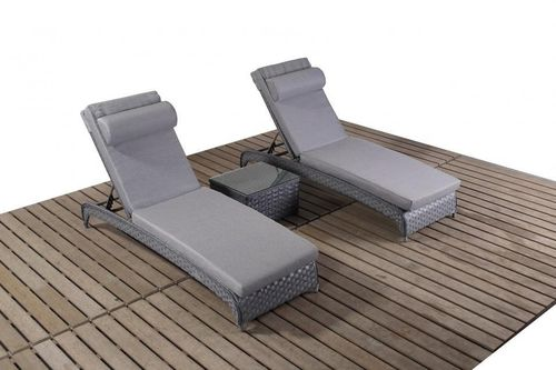 Platinum Grey Rattan Loungers and Side Table set