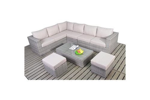 Large Left Rustic Rattan Corner Sofa set