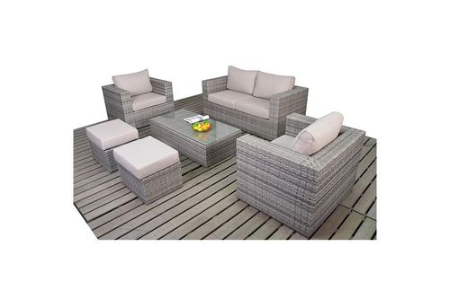 Rustic Small Grey Rattan Sofa Set