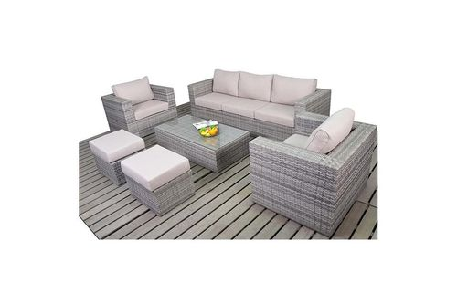 Rustic rattan grey Large sofa set