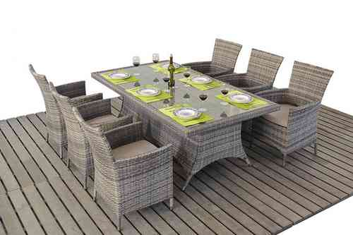 Rustic Grey Rattan Dining Table and Chairs