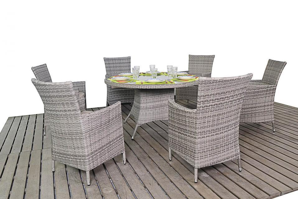Round rustic rattan table and 6 chairs set homegenies for 12 seater dining table sydney