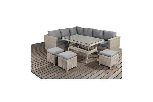 Rural Left Rattan corner sofa and dining table set