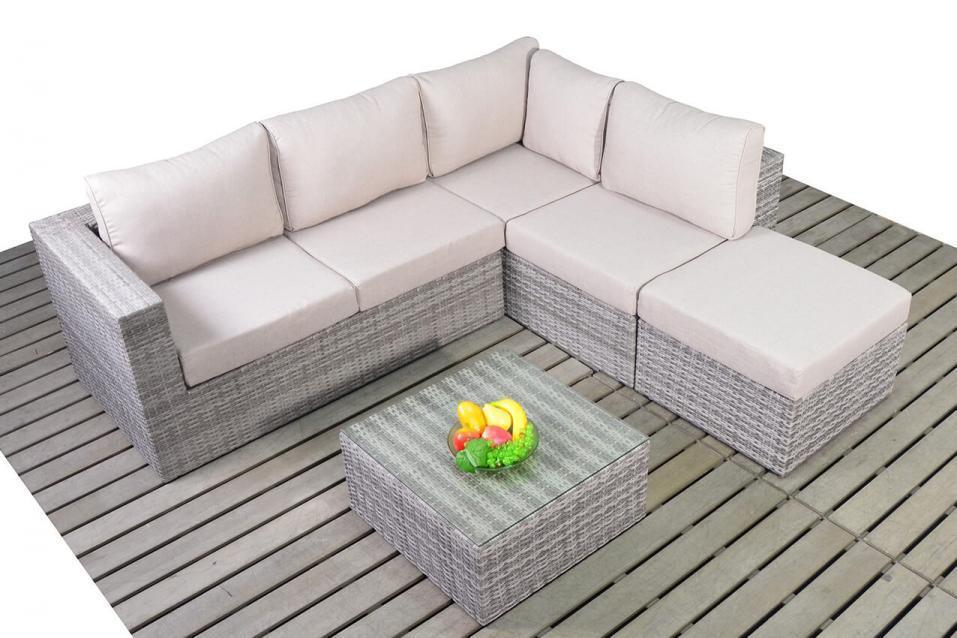 Small Right Rattan Rustic Corner Sofa Set Homegenies