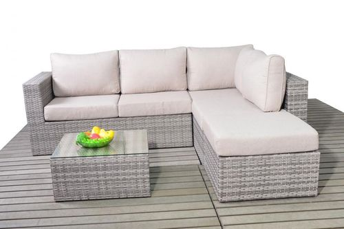 small Right rattan rustic corner sofa set