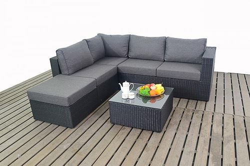 Prestige Left Black Rattan Small Corner Sofa