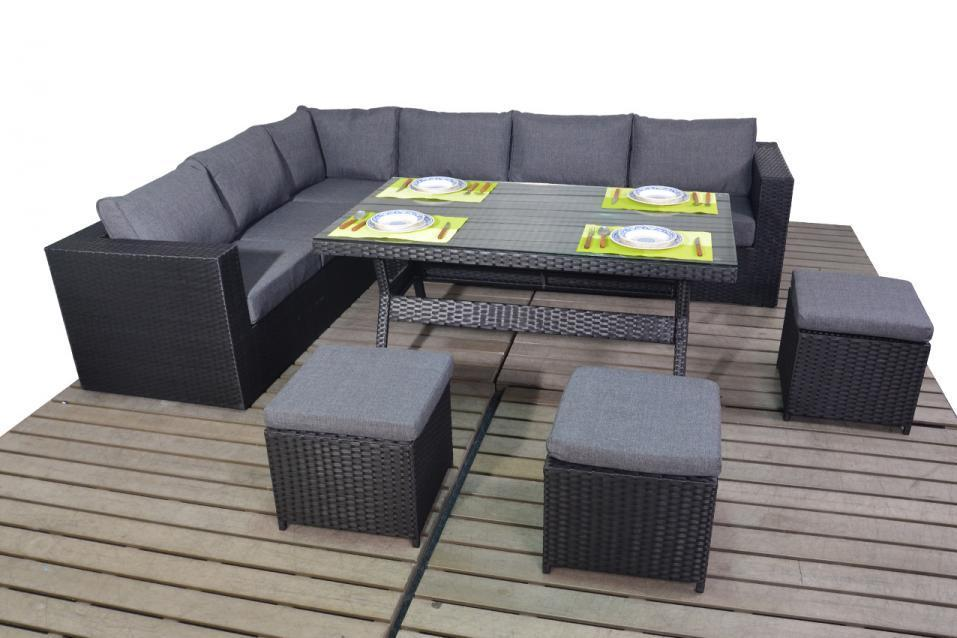 Prestige Black Rattan Corner Sofa With Dining Table Homegenies