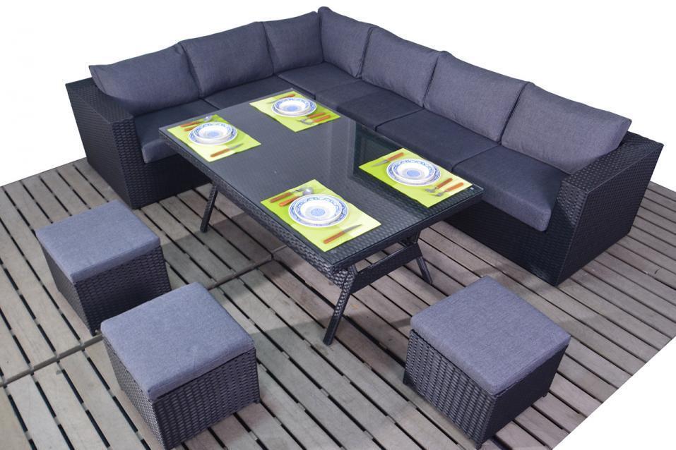 Prestige Black Rattan Corner Sofa With Dining Table Homegenies