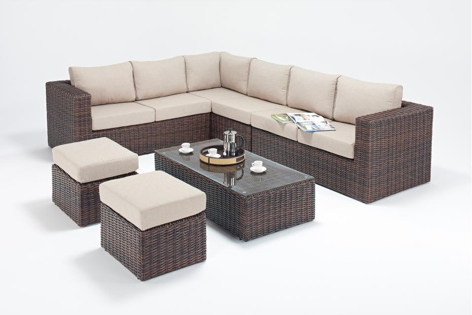 windsor large brown rattan corner sofa set homegenies. Black Bedroom Furniture Sets. Home Design Ideas