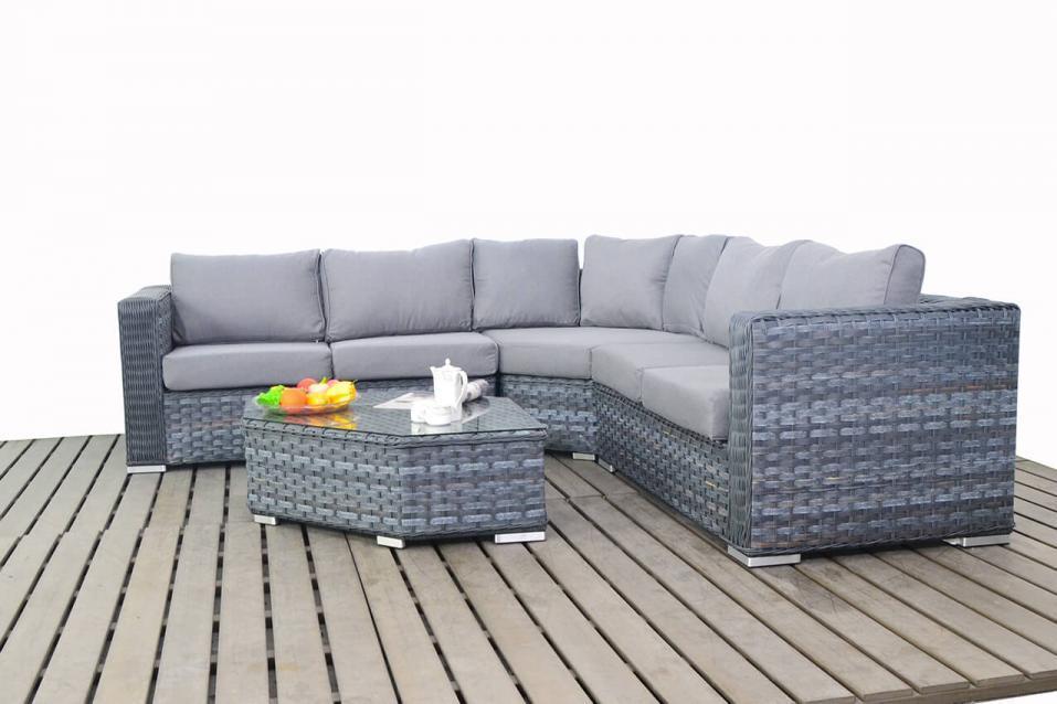 Platinum Grey Rattan Angle Coner Sofa Set Homegenies