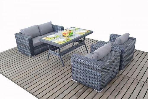 Platinum Grey Rattan Sofa with Armchairs & Table set