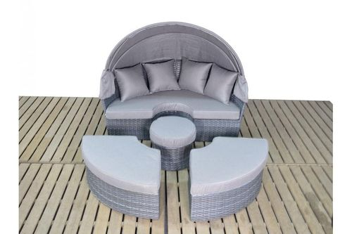 Large Platinum Grey Rattan Daybed with Coffee Table
