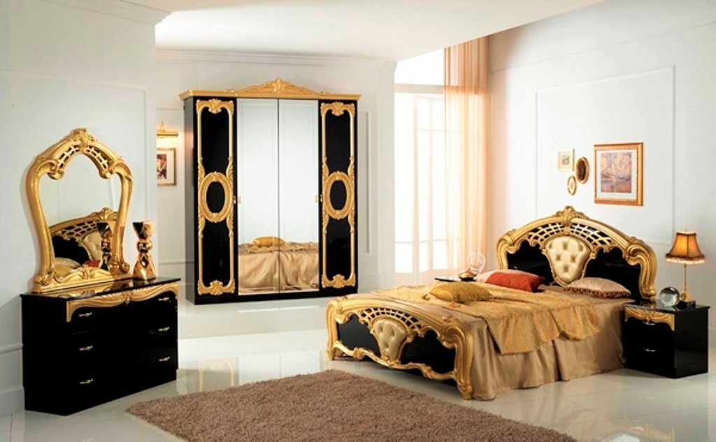 High Gloss Black & Gold Italian Bedroom Furniture - Homegenies