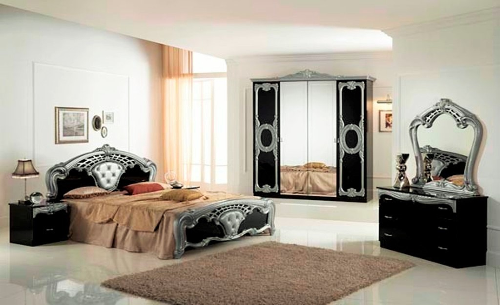 High Gloss Black & Silver Italian Bedroom Furniture - Homegenies