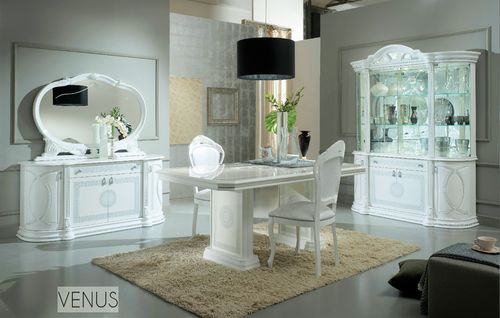 White italian high gloss dining table and chairs and furniture set