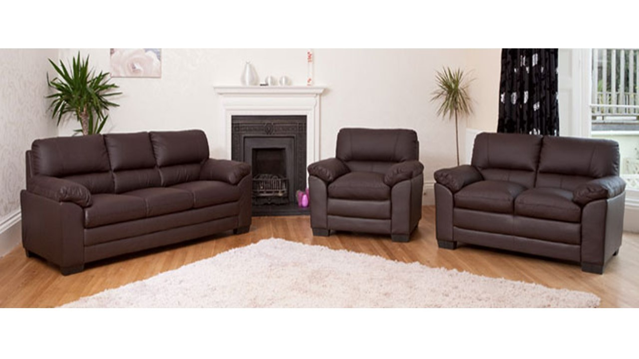 leather sofa 1 2 3 seater in black brown cream homegenies. Black Bedroom Furniture Sets. Home Design Ideas