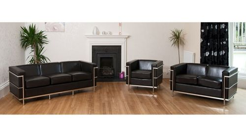 Black Leather Sofa with Chrome Frame