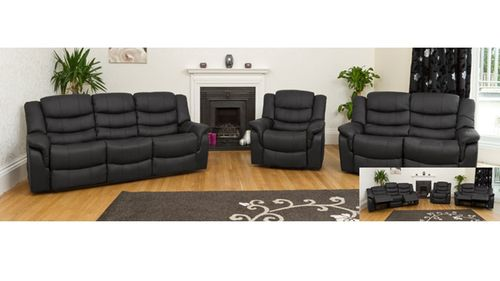 Leather Sofa Recliner in Black, Brown or Cream