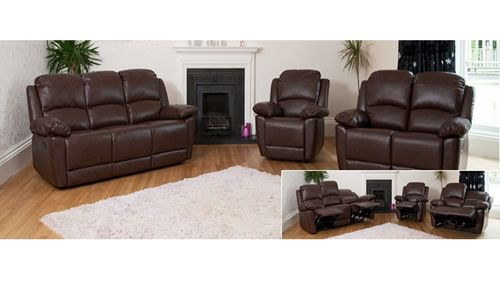Black, Brown, Cream, Reclining Sofa Set
