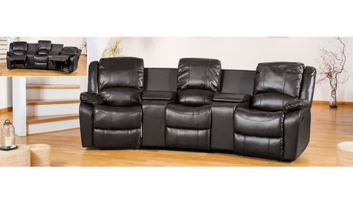 Reclining Corner entertainment leather sofa