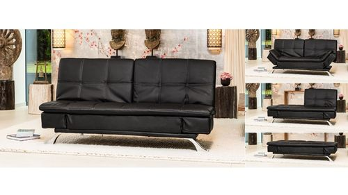 Click Clack Leather Sofa Bed in Black, Cream, Brown