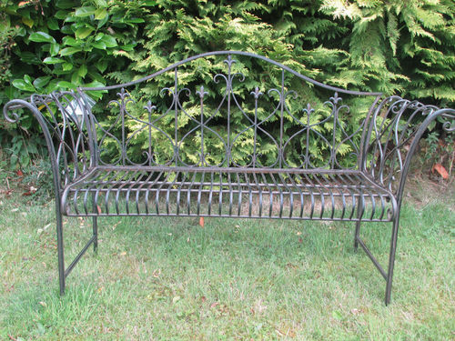Antique Rusty Effect Metal Garden Bench