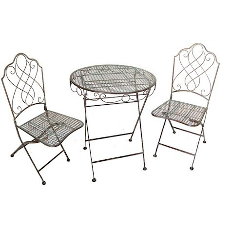 Antique Colour Metal Bistro Table and 2 Chairs