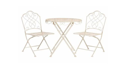Cream Metal Garden Bistro Table and 2 Chairs Set