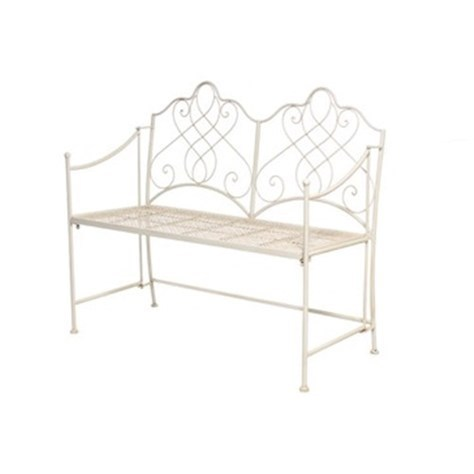 Vintage Cream Metal Garden Bench